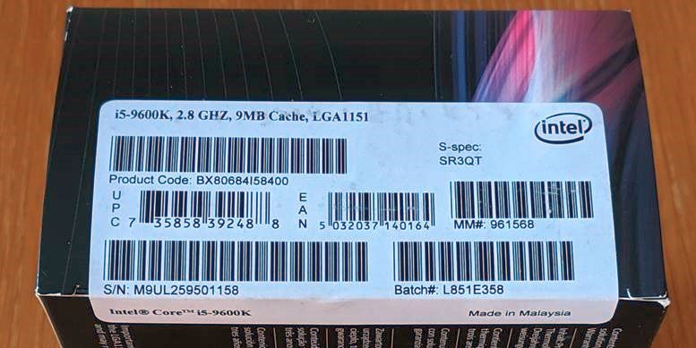 Fake Intel i5-9600K Barcodes